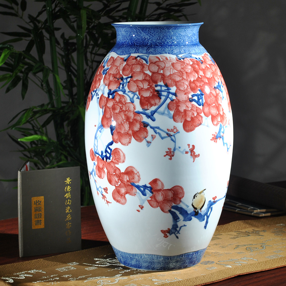 Large ornamental vases - Jingdezhen Is Famous Hand Painted Ceramic Underglaze Red Large Vase Lucky Decoration Gift Room