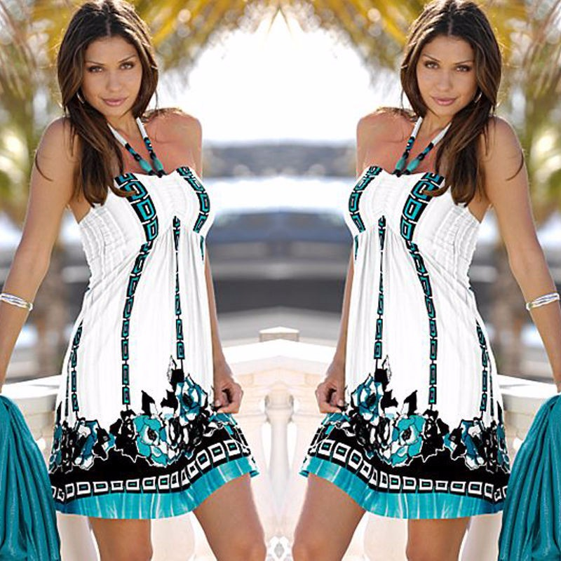 Tittok Summer dress women 2017 dress with print beach dresses Sleeveless sexy floral print maxi dresses above knee T092 2