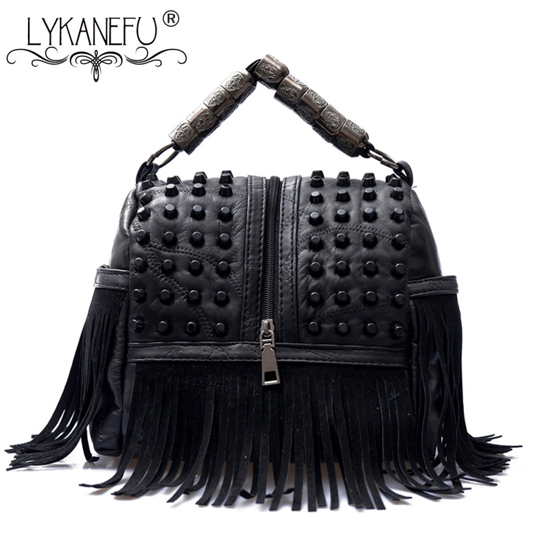 LYKANEFU Punk Street Women Messenger Bags Black Rivet Tote Handbag Shoulder Bag with Long Strap Crossbody Purse Cool Bag Bolsa lykanefu fashion black rock skull bag women messenger bags designer handbag clutch purse bag bolsas femininas couro dollar price
