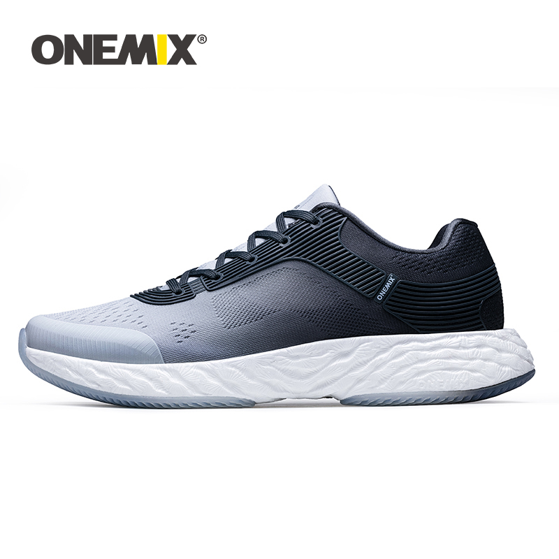 ONEMIX 2019 Spring New White Sneakers Men Running Shoes Light Weight Breathable Vamp Sports Jogging Flats