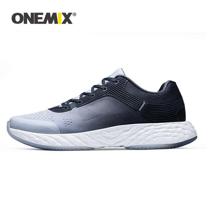 ONEMIX 2019 Spring New White Sneakers Men Running Shoes Light Weight Breathable Vamp Sports Jogging Flats Shoes Plus Size 39-47