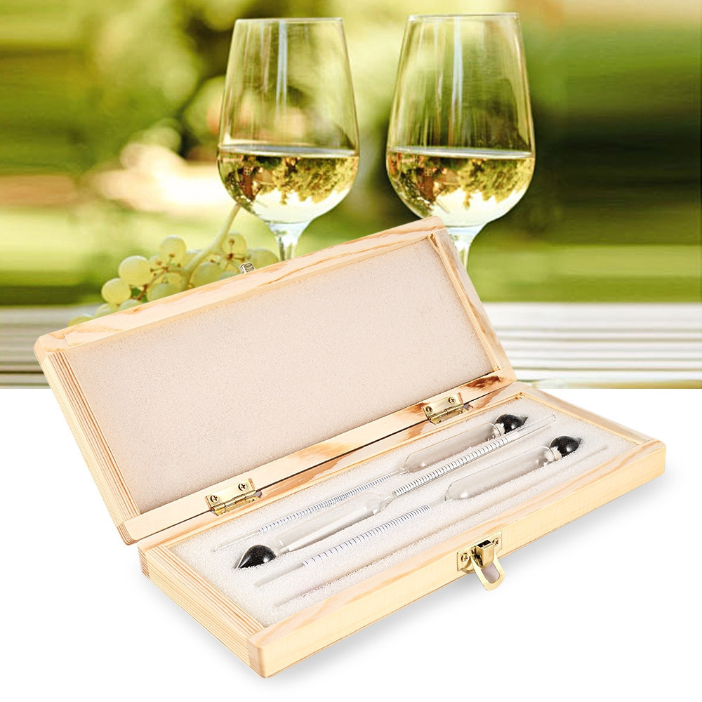 Alcohol meter Alcoholmeter alcohol detector alcohol measuring tool alcohol tester wine Hydrometer bar Set with Thermometer refractometer beer brix wort sugar alcohol 0 30%1 000 1 120 sg specific gravity handheld tool hydrometer rz120 tool