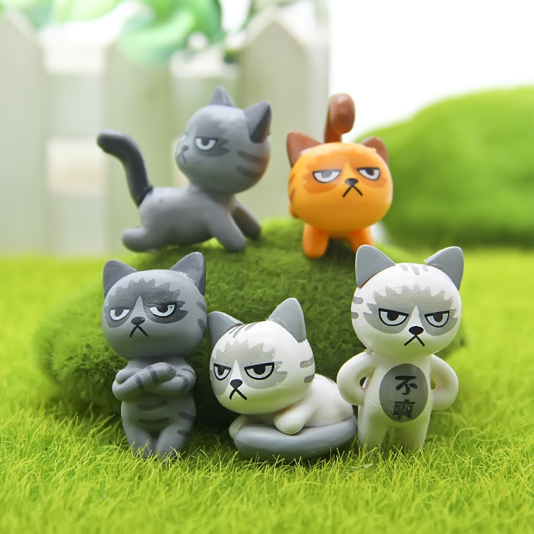 6 pcs/set Super Cute Unhappy Cats Action Figure Cartoon Toys girls Anime Christmas party supply for Children Kid Decor Figures 12pcs set children kids toys gift mini figures toys little pet animal cat dog lps action figures