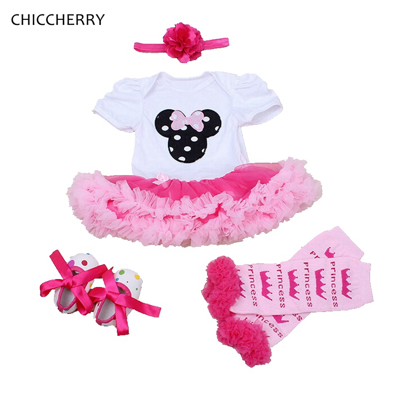 Minnie Infant Girls Birthday Dress Set Toddler Lace Romper Tutu Headband & Legwarmers Cartoon Vestido Infantil Baby Girl Clothes crown princess 1 year girl birthday dress headband infant lace tutu set toddler party outfits vestido cotton baby girl clothes