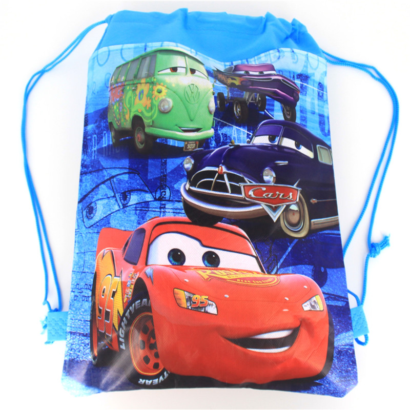 1pcs High Quality Disney Cars Theme Drawstring Bags Kid Cotton Travel Pouch Storage Clothes Shoes Bags School Portable Backpack(China)