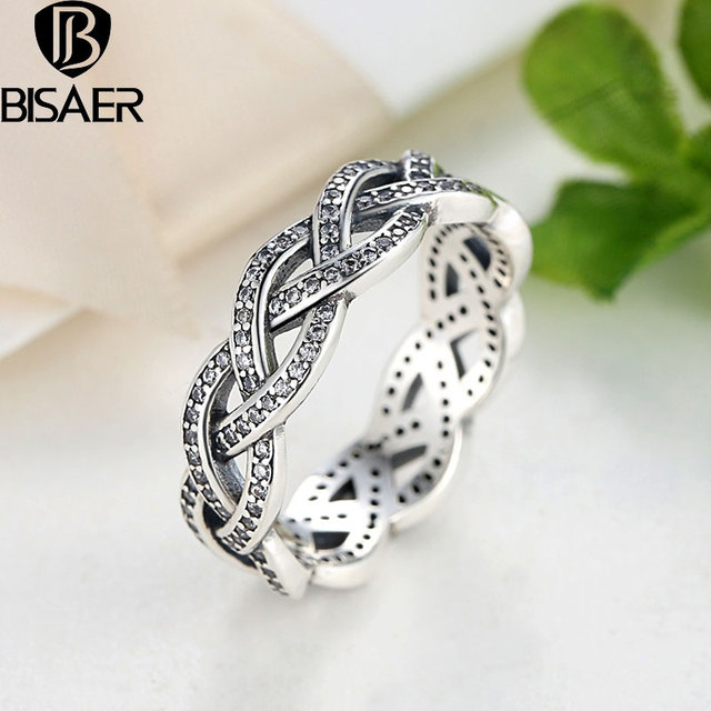 925 Sterling Silver Stackable Crystal Ring Braided Dazzling Engagement Wedding Band Women Ring Geometric Sterling Silver Jewelry