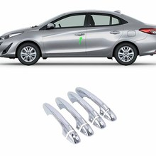 Car Accessories Exterior Decoration ABS Chrome LHD Side Door Handle Cover For Toyota Vios/Yaris Sedan 2019 Car-styling car body kits abs chrome front grill cover car sticker for toyota vios 2017
