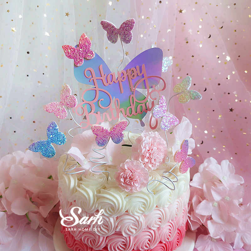 Astonishing Biling Colourful Laser Butterfly Happy Birthday Cake Topper Personalised Birthday Cards Akebfashionlily Jamesorg