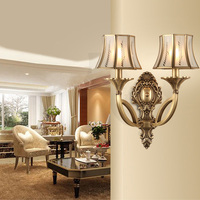 antique 2 arm LED wall light with glass lampshade villa art studio candle light 2017 hot sale Big large vintage Wall lamp sconce