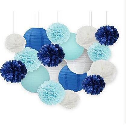 Set Of 18 Boy Baby Shower Decorations White Navy Baby Blue Tissue