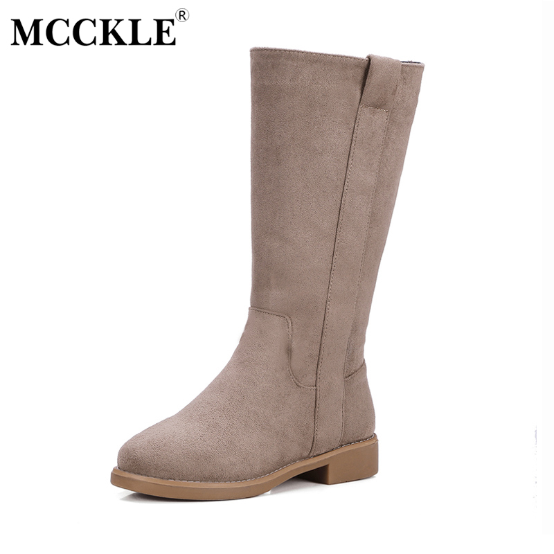 MCCKLE Woman Fashion High Quality Suede Mid-calf Boots Female Slip On Thick Heel Platform Autumn Winter Solid Style Shoes high quality genuine leather mid calf boot winter slip on warm snow boots women suede thick sole platform invisible wedges shoes