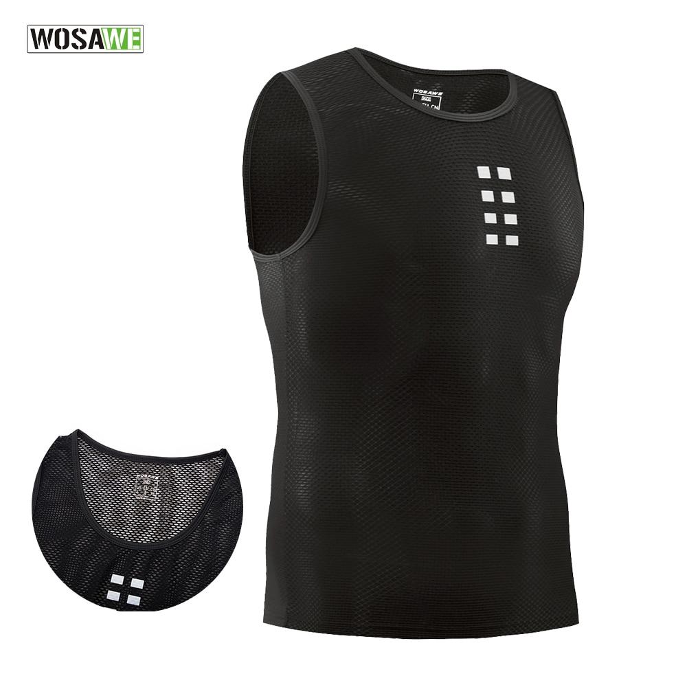 WOSAWE Ultra-thin Cycling Vest Base Layer Sleeveless Underwear Bike Mesh Breathable Shirts Compression Sports Bicycle Jerseys