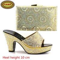 A098 الذهب عالية الجودة الزفاف الأحذية و أكياس مطابقة مجموعة بحجر جميل الأزياء حزب أحذية و حقيبة مجموعة الشحن مجانا