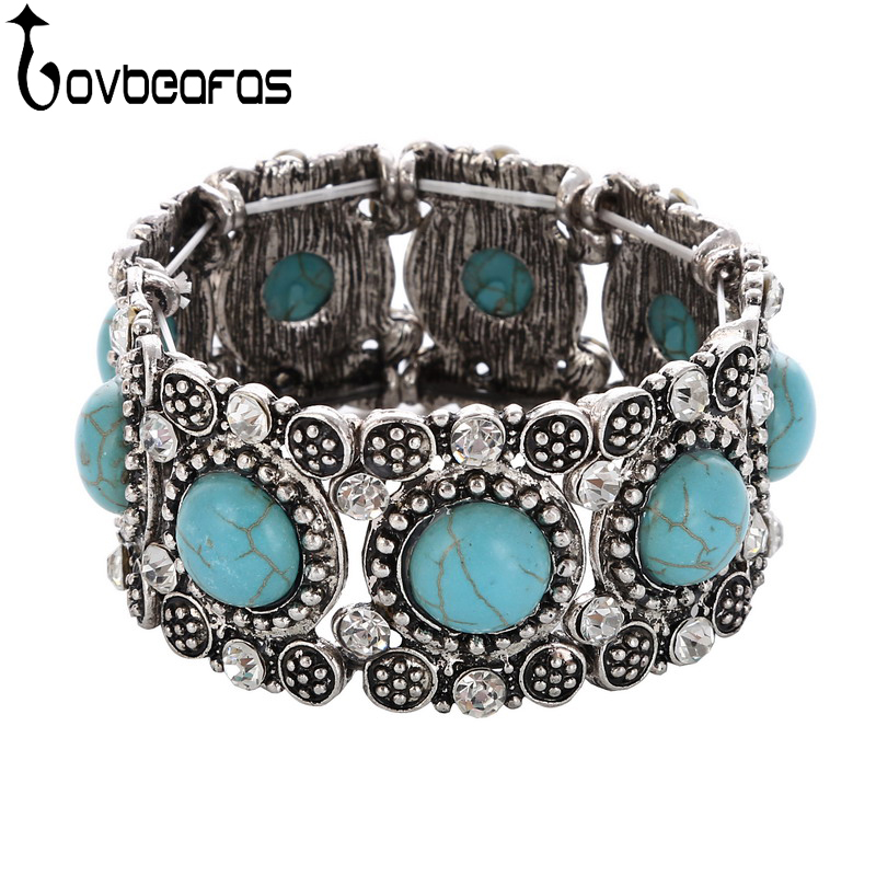 LOVBEAFAS Fashion Vintage Boho Bracelets Bangles For Women Ethnic Crystal Rhinestone Adjustable Femme Bracelets Accessories
