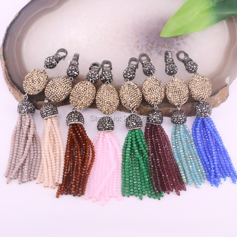 Fashion 5Pcs handcrafted jewelry  Multi color crystal tassel pendant pave rhinestone charm  pendants