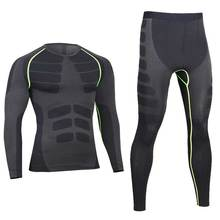 Men Pro Compression Long Johns Fitness Quick Dry Gymming Male Shirts + Tights Pants Sporting Runs Thermal Underwear Sets V0405