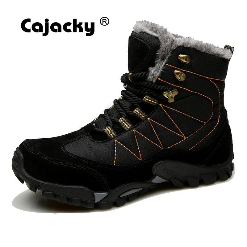 Cajacky Men Snow Boots Leather Men Shoes Waterproof Winter Boots Keep Warm Plush Botas Hombre High Top Antiskid Mens Snow Boots стоимость