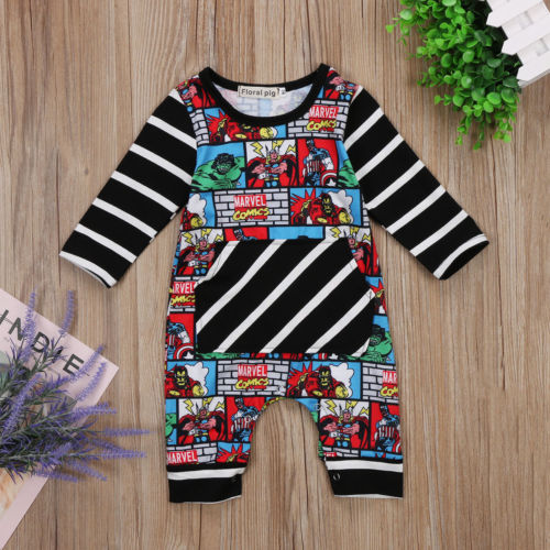 US Newborn Baby Boy Summer Cartoon Romper Bodysuit Jumpsuit Outfit Clothes 0-24M