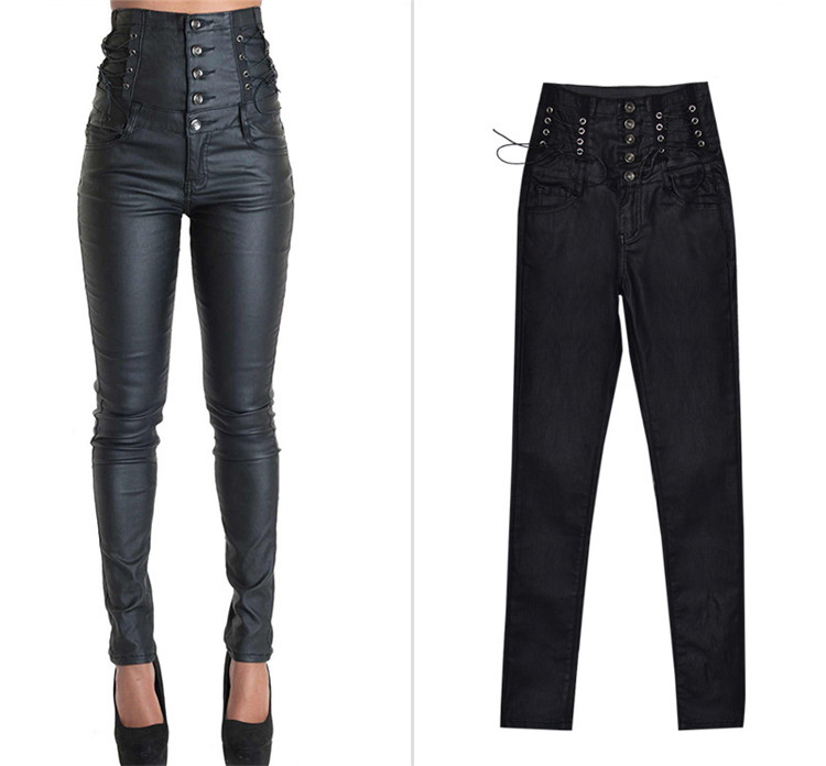 Stretch jeans stretch jeans for women\`s wear ultra high waist strap decorative coating leather stretch jeans PU large size (4)