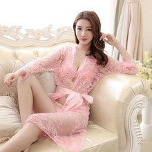 24eeeb8055061 2018 Hot Sexy Robe Sets New Women Sexy Nightwear Plus Size S~XXL Lace  Nightgown Sleepwear Dress G-String Sexy Underwear