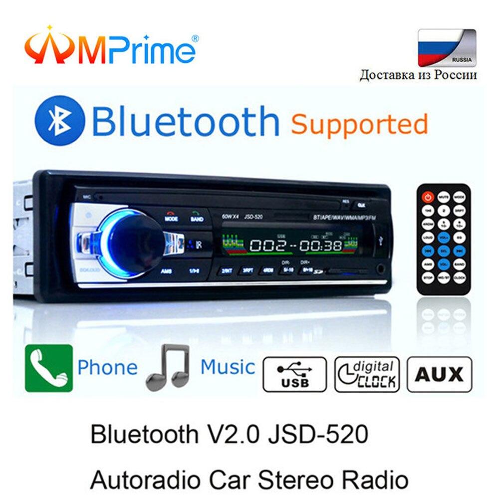 AMPrime JSD-520 coche Radio Bluetooth 12 V en el tablero de 1 Din estéreo Autoradio jugador AUX-IN MP3 receptor FM SD USB SD coche reproductor de audio