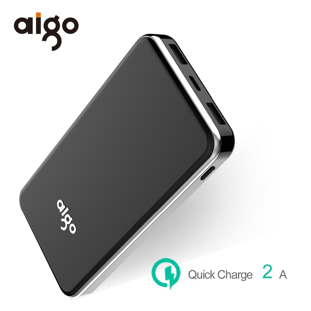 Aigo Power Bank 10000mah Portable Charger Dual Input Ports For Xiaomi Powerbank Mi Fast Charging