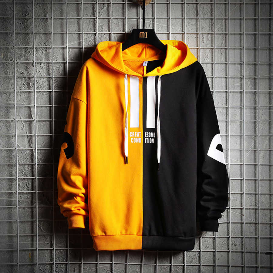 0a95c0d58 ... Korean Hoodies Male Pullovers Patchwork Men Sweatshirts Streetwear Hip  Hop Ulzzang Harajuku Pullover Hooded Sweatshirt Printing ...