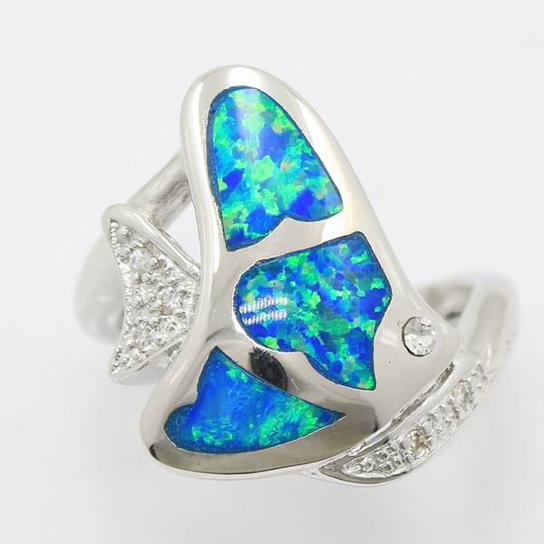 New Arrival Special Offer Precious Australian Opal Fairy Women Top Fashion Sterling Silver Ring Sz. 7.5 FREE SHIPPING
