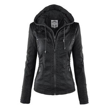 Faux Leather Jacket Women 2019 Basic Jacket Coat Female Winter Motorcycle Jacket Faux Leather PU Plus Size Hoodies Outerwear 8