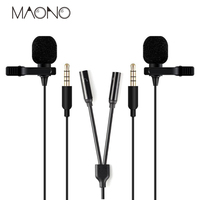 MAONO Lavalier professional condenser Dual Microphone with Splitter Hands Free Clip on Lapel Mic Condenser for Phone computer PC