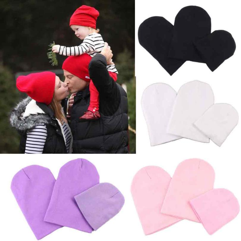 Family 3 people hat  Mom Dad And Baby New Beanies Winter Hat with Ears Warm Beanie Girl Hats popular #415 alfie and dad