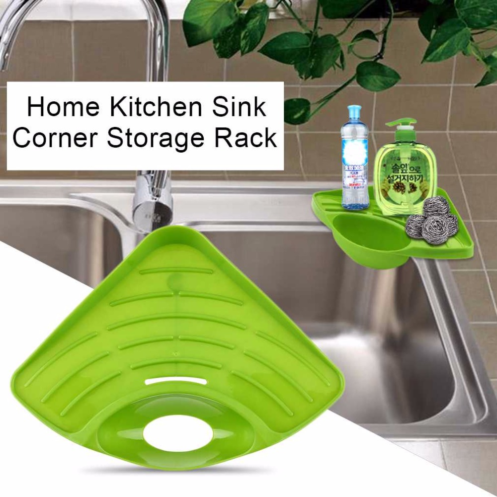 Modern Design Home Kitchen Sink Corner Storage Rack Solid Color Sponge Drainboard Bathroom Holder Organizer Accessories