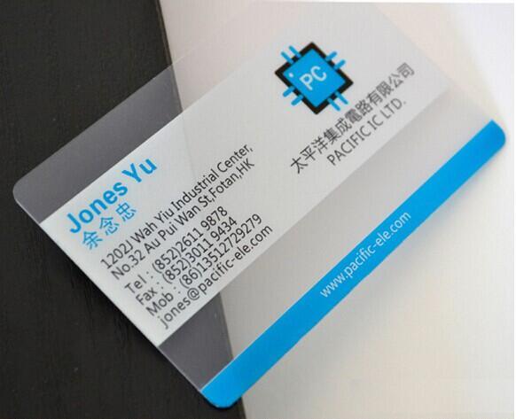 Transparent business card printing