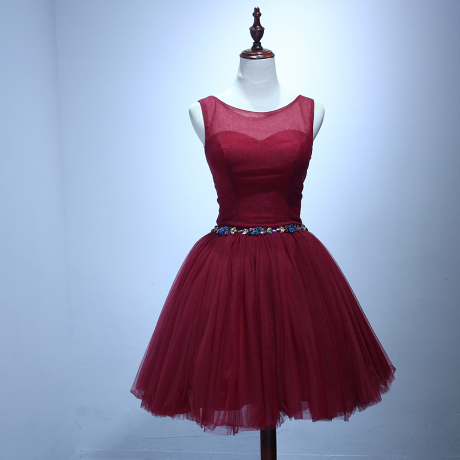 Robe De Mariage2017 Sexy Sweetheart Tulle Fluffy Burgundy