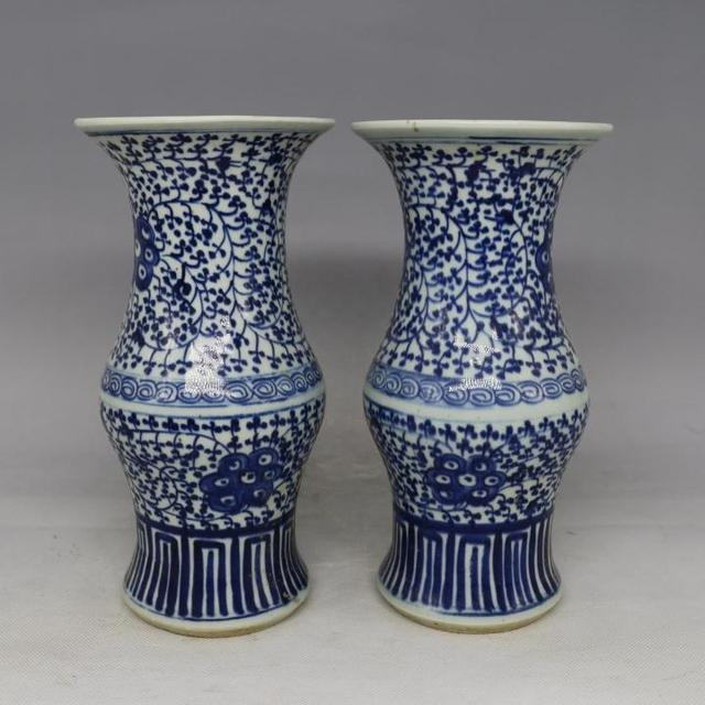 Antique Old Chinese Porcelain Vaseblue And White Bottlea Pair