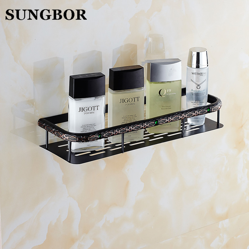 Wall Mounted Black finish Strong Brass square single tier bathroom shelf basket FA-80816 single tier wall mounted black finish carving brass bathroom shower shampoo shelf basket holder i633