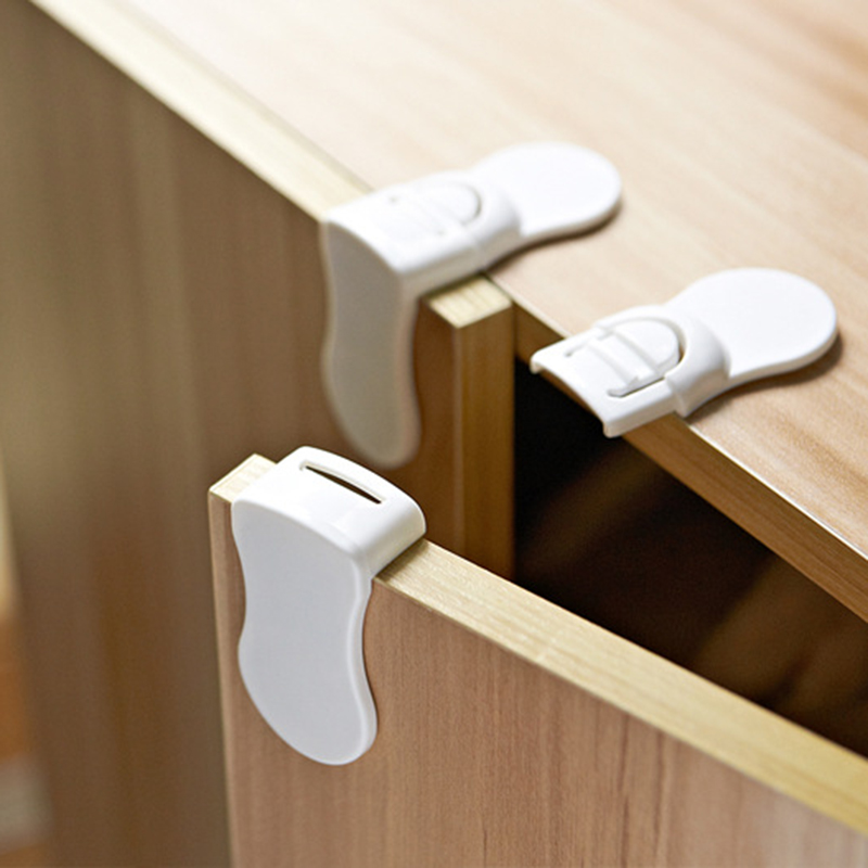 Children Security Products 5 PCS Hard Plastic Baby Child Kids Care Safety Protection Drawer Cabinet Door Right Angle Corner Lock