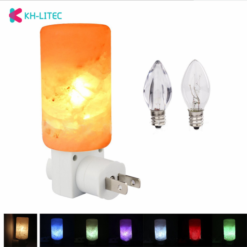 7W Multi Color Changing Mini Hand Carved Natural Crystal Himalayan Salt Lamps Rotatable Cylindrical Night Lights Home Wall Decor