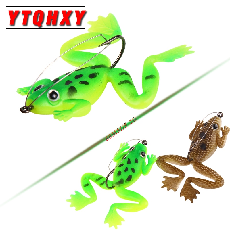 YTQHXY 4Pcs/lot Rubber Frog Soft Bait 60mm 5.2g Fishing Lures 2 colors Plastic Fish with Hook CrankBait Fishing Tackle YE-164 3pcs lot 95mm 16g pencil popper fishing lures crankbait crank bait tackle treble hook