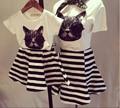 Pai crianças outfit gato dos desenhos animados patch bordado mangas curtas t shirt + saia listrada verão mãe e crianças lindas roupas set