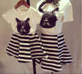 Parent-child outfit cartoon cat patch embroidered short sleeves t shirt + striped skirt Summer Mom and kids lovely clothes set