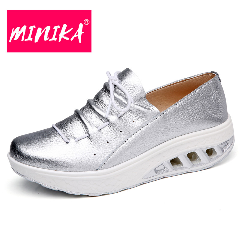 MINIKA 2018 New Women Casual Loafers Shoes 35-42 Big Size Flat Shoes Women Comfortable Spring & Autumn Platform Shoes Women minika new arrival 2017 casual shoes women multicolor optional comfortable women flat shoes fashion patchwork platform shoes