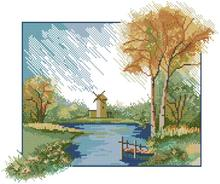 Fishxx Cross Stitch,C726scenery[on the outskirts of windmill rural wind]printing,100% accurate pattern,11CT,Need to embroidery