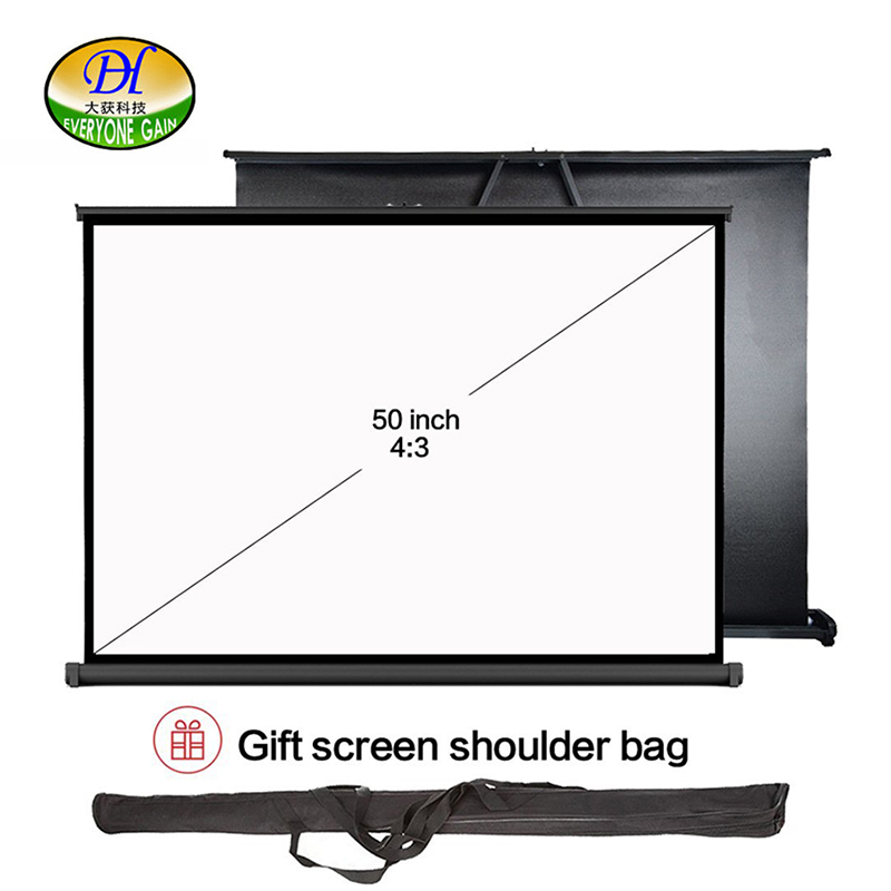 Everyone Gain VS50 Portable Projector Screen 50 Inch 4:3 Pull Up Table Projection Screen for Projector Business and office hot selling 84 inch 16 9 format fast quick fold projector screen for many size front and rear projection screen