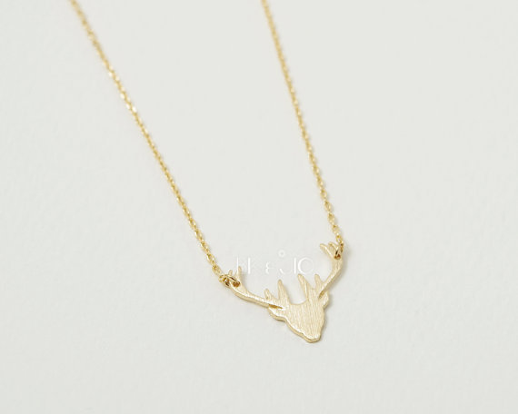 Artemis Stag Deer Antler White Gold Charm Pendant Modern Woodland Forest Spirit Silver Necklace Gift for Wife Girlfriend Daughter Mother