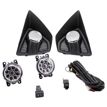 2 Fog Light Grille+2 Lamp+Wire Switch Kit Fog Lights Assembly Car Front Bumper Lamp For Ford Focus Hatchback 5 door 2009-2011