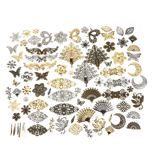 10 Pcs 7 סגנונות זהב/רודיום/ברונזה מתכת מחברים מלאכות עבור תכשיטי ביצוע DIY אביזרי קסם תליון פיליגרן שיער חרוזים