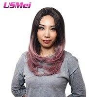 USMEI long Ondulé cheveux synthétiques perruques pour les femmes ombre rose perruque cosplay 24 pouces moyen partie femmes layered cheveux pleine tête cheveux