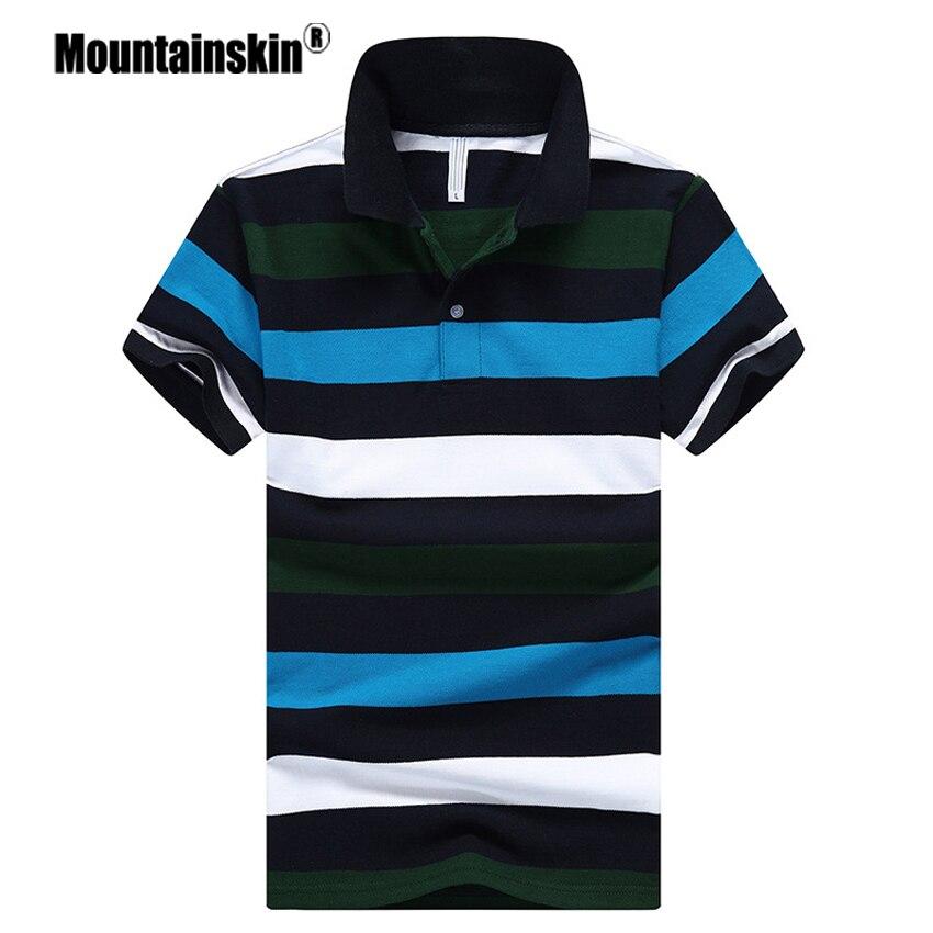 Mountainskin Men Summer   Polo   Fashion Mens Striped Cotton Tee Breathable Male Slim Fit   Polo   Shirts Men Brand Short Sleeve SA440