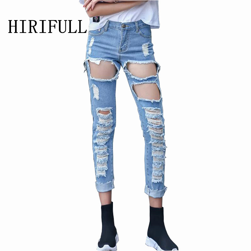Boyfriend Hole Ripped Jeans Women Punk Cool Street Denim Vintage Pencil Jeans Girl Mid Waist Casual Ankle Length Pants Female boyfriend jeans women ankle length washed denim summer vintage hole ripped letter embroidery harem pants female casual streetwea